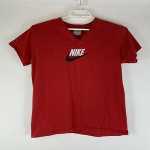 Vtg Nike V-Neck T-Shirt Spellout Swoosh Silver Tag